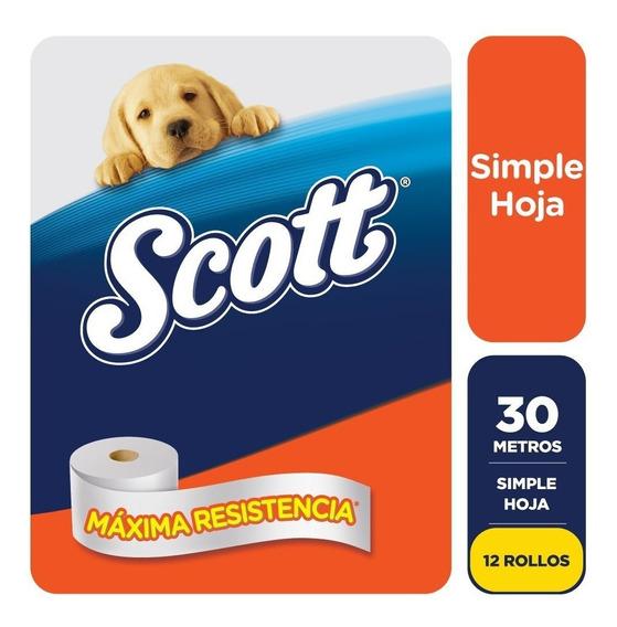 Papel Higienico Scott Simple Hoja 30 Metros X 12 Rollos