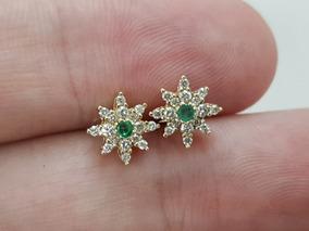 Brincos Femininos Ouro 18k Pedra Verde Formato Flor Estrela