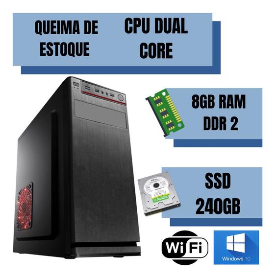 Cpu Pentium Dual Core 8gb Ram Ssd 240gb Windows 10 Brindes !