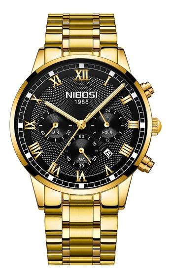 Relógio Nibosi Inox Funcional Original Barato Frete Grátis
