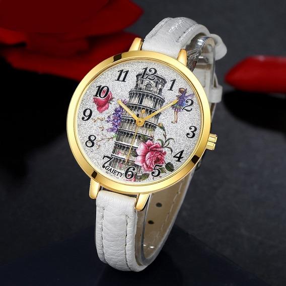 Relógio Feminino Pulseira Moda Fashion Novidade Luxo Branco