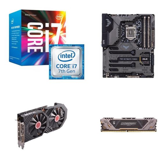 Kit Processador I7 7700+ Placa Mãe Asus Tuf+ Memoria+ Rx 580