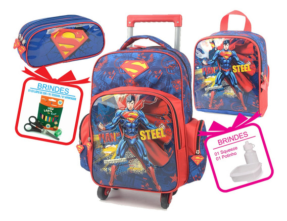Kit Mochila Lancheira Estojo Menino Superman Super Homem