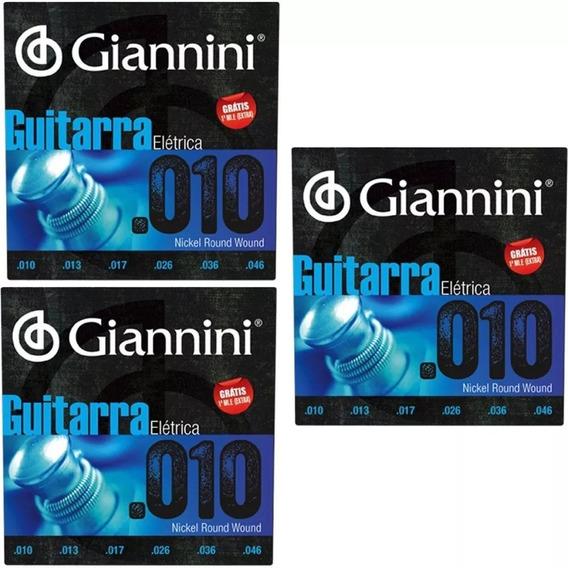 3 Encordoamento Guitarra 010 Giannini Geegst .10