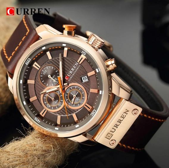 Relógio Masculino Curren 8291 Original Esportivo Cronógrafo 100% Funcional Pulseira De Couro Elegante