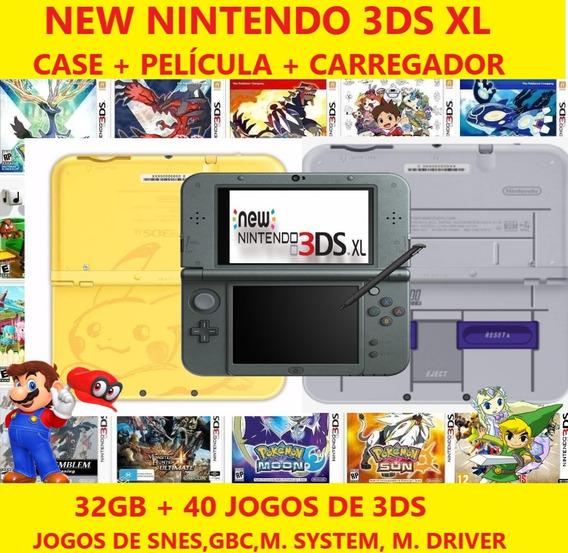 New Nintendo 3ds Xl + 1500 Jogos + Ds + Snes 32gb + Brindes