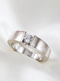 Anel Solitario Moderno Ouro Branco Com Diamante De 40 Pontos