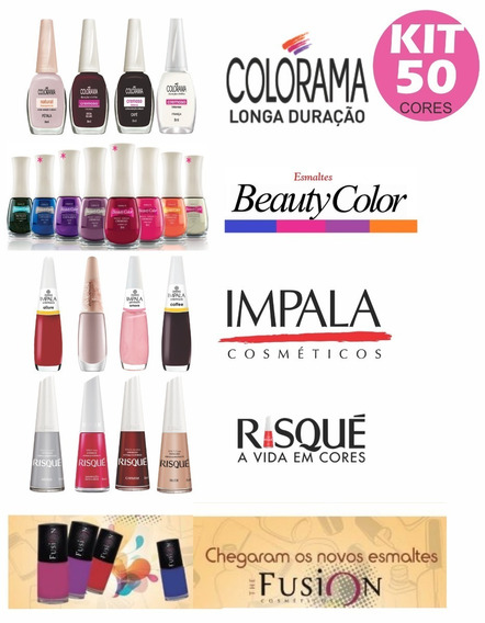 Kit 50 Esmaltes, Risque, Colorama, Impala, Beauty, Elegance