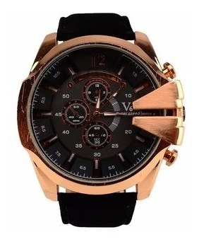 Generico New Gold Stainless Steel V6 Mens Pu Black Leather B