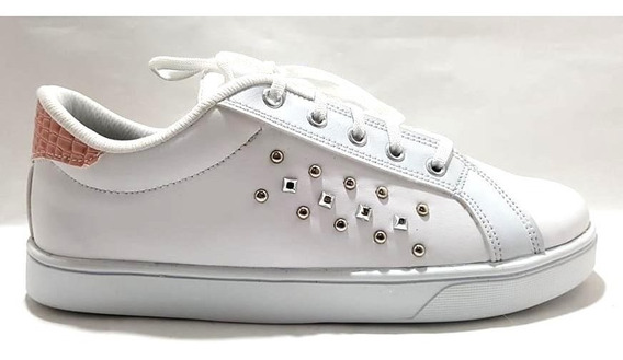 Sam123 Zapatillas Blancas Talles Grandes Tachitas Oferta