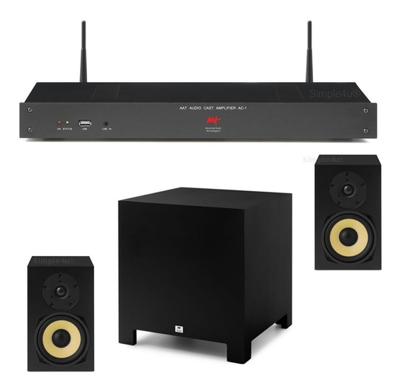 Kit 2.1 Amplificador Stereo Hi-end Multimídia Wi-fi Ac-1 Aat