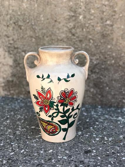 Jarron De Ceramica Esmaltada, Pintado A Mano