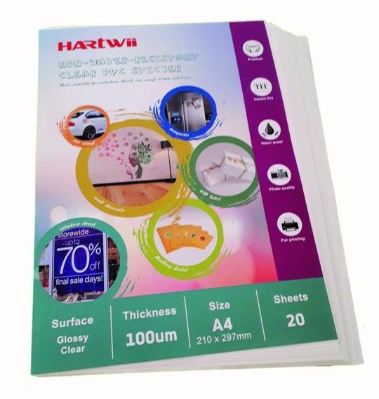 Vinilo Inkjet Autoadhesivo 100% Transparente A4 20hj Hartwii