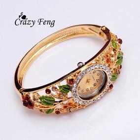 Relógio Feminino Pulseira Floral Promoção Luxo Barato Lindo