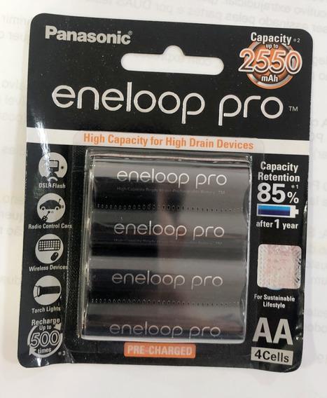 4 Pilhas Aa Recarregáveis 500x Panasonic Eneloop Pro 2550mah