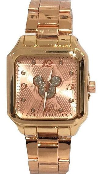 Relógio Feminino Quadrado Minnie Mickey Disney Rose