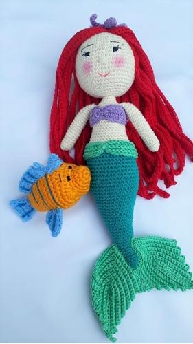 Linda Sirenita Tejida A Crochet En La Tecnica  Amigurumi