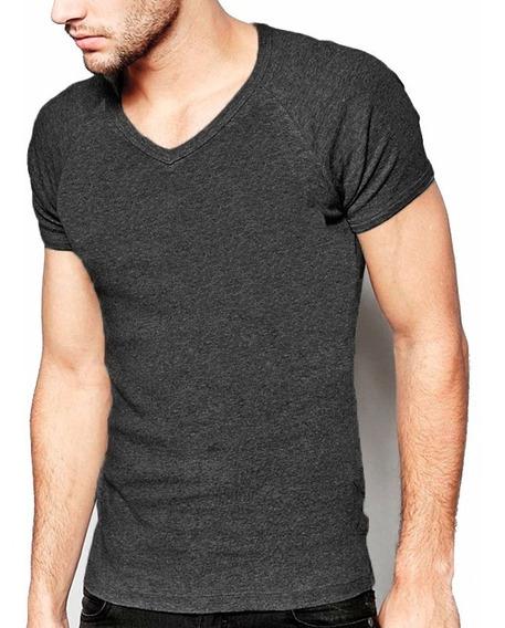 Kit 07 Camisetas Masculinas Blusa Camisa Slim Fit Lisa Basic Gola V