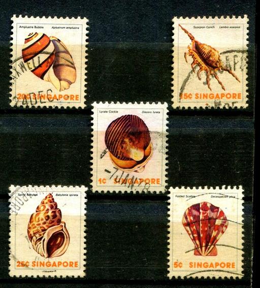 Selos De Singapura Fauna Marinha Conchas Frete $14 - L2442