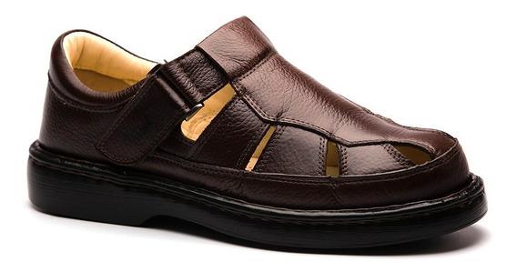 Sandália Masculina 306 Em Couro Floater Café Doctor Shoes