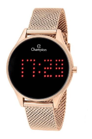 Relógio Champion Feminino Digital Led Ch40026p Rose Negativo