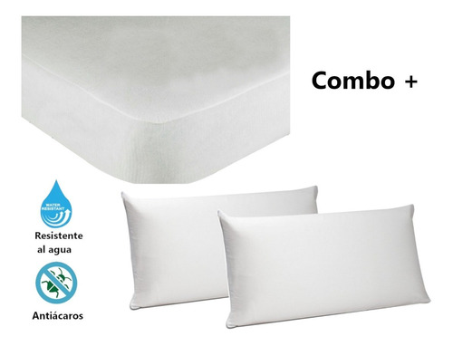 Combo 2 Protector Colchón King Y 2 Fundas Impermeables 95x50
