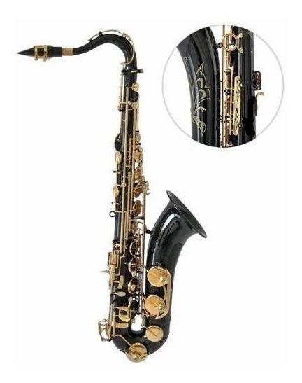 Saxofone Tenor Halk Preto/dourado Sib Completo