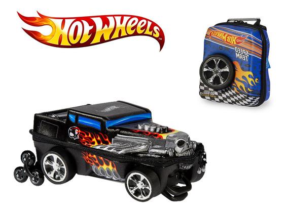 Mochila De Carrinho 3d Hot Wheels Bone + Lancheira Roda 3d