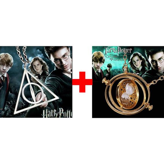 Kit Harry Potter 1 Colar Prata + Vira Tempo Hermione Dourado