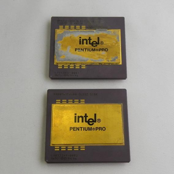 Kit 2 Processador Pentium Pro Antigo Dourado Ouro 200mhz