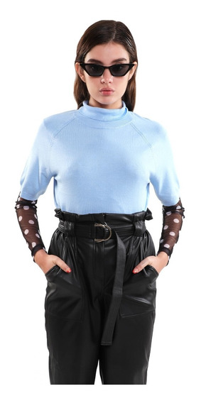 Sueter Ligero Mujer Cuello Alto Color Azul Lob