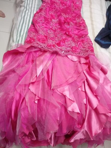 Vestido 15 Anos/ Debutante 2 Em 1/ Rosa/ Bordado