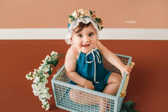 Caixote Ferro Prop Foto Newborn Acompanhamento Bebê Verde