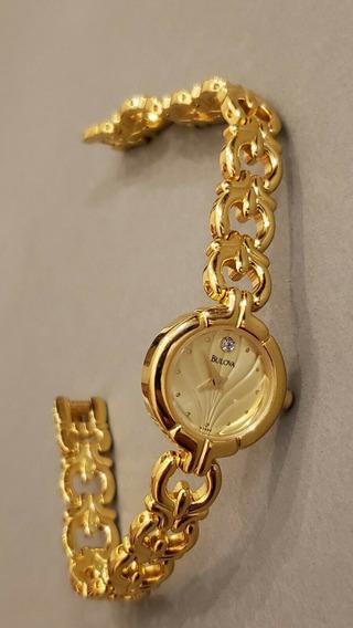 Relógio Bulova Feminino T8 Tom Dourado Excelente Estado