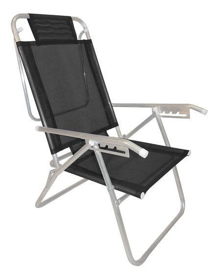Cadeira De Praia Reclinável Infinita Up Alumínio Preta Zaka