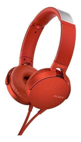 Fone de ouvido Sony MDR-XB550AP vermelho