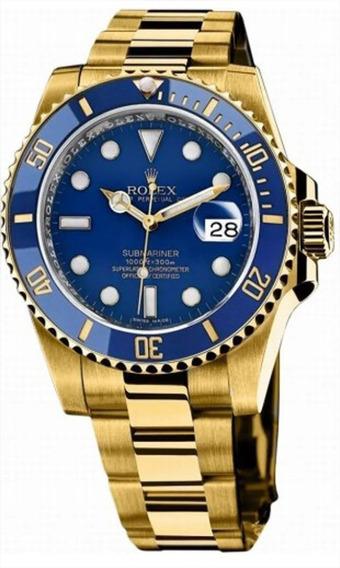 Relógio Mod 254 Submariner Suíço Dourado Fundo Azul