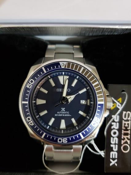 Relógio Seiko Samurai Srpb49k1 Diver Novo Mostrador Azul Bisel Azul Cinza