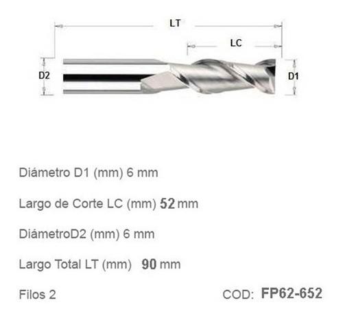 Fresa Plana Router Cnc 6mm Diámetro 52mm Corte 2 Filos
