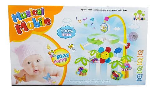 Imagen 1 de 5 de Movil Musical Cuna Bebe Baby Shower Diseño Abejas Flores
