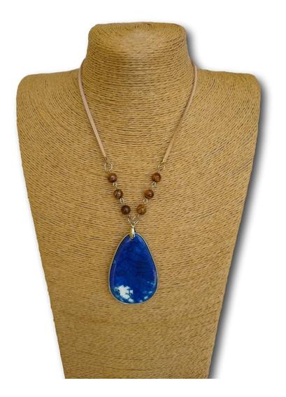 Colar De Pedra Jaspe Azul Com Olho De Tigre Ref. 0054
