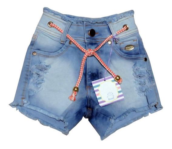 Kit 2 Shorts Jeans Lycra Feminino Meninas Infantil 6 Ao 14