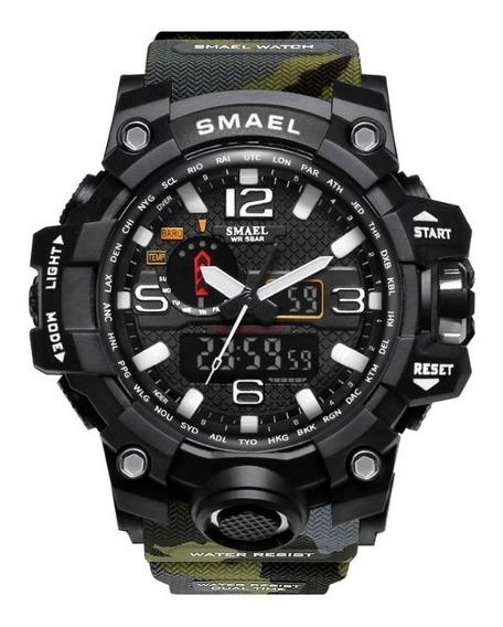Relógio Masculino Smael Camuflado Militar Anti Shock