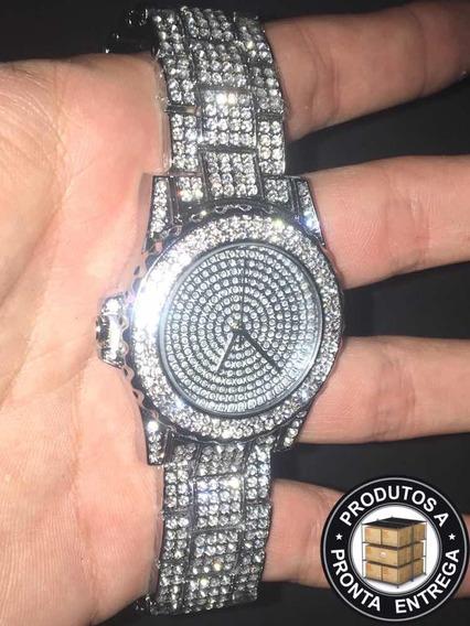 Relógio Iced Out Silver Cravejado - (envio Imediato))
