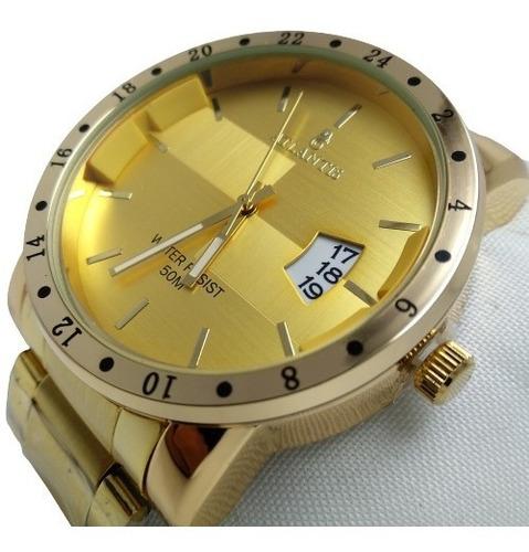 Relógio Masculino Atlantis Dourado + Caixinha