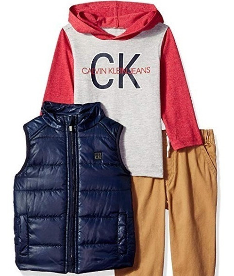 Calvin Klein 3 Piezas: Chaleco Sudadera Pantalon 18m