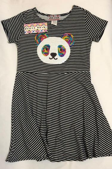 Vestido Para Niña 6x Usa Rayas Con Panda Al Frente Y Brillos