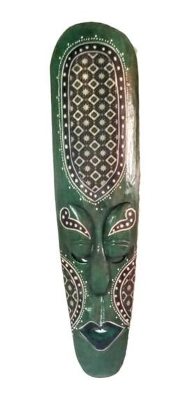 Máscara De Madera Con Tela Batik Indonesia