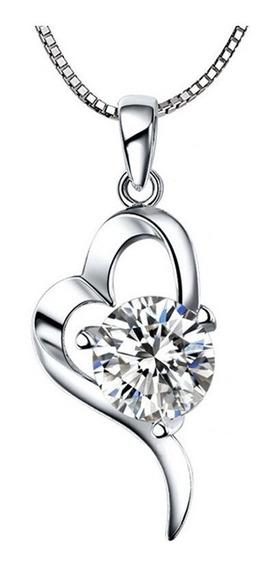 Gargantilla Plata 925 Corazón Y Zirconia En Forma Diamante
