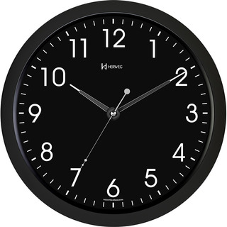 Relógio Parede Silencioso Luz Led Quarto Preto Herweg 6809s